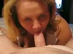 Chubby wife blowjob and cumshot