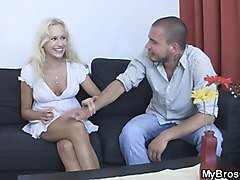 Czech blonde is lured into sex with BF's stepbro