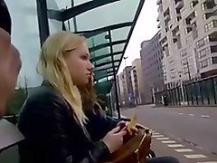 dick flashing blond bus stop